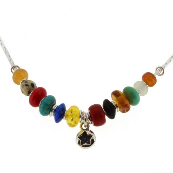 Star necklace, lapis, carnelian, turquoise & amber beads no.2A